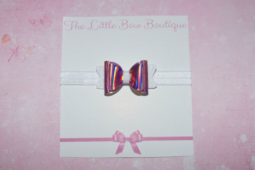 Hologram Leatherette Pink Baby Bow