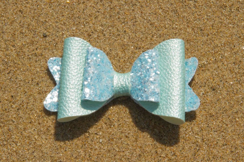 Pearl Effect Leatherette Bow Blue