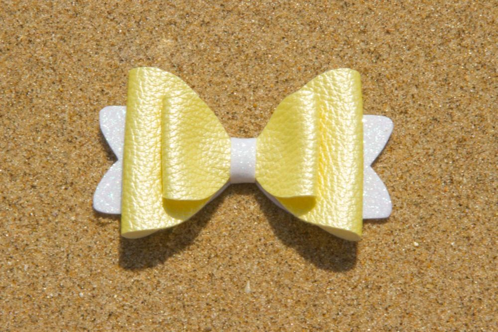 Pearl Effect Leatherette Bow Yellow