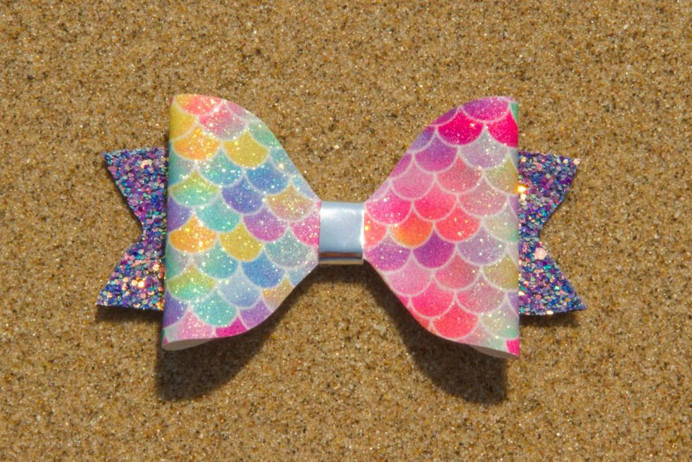 Mermaid Scales Fine Bright Colours Bow 1