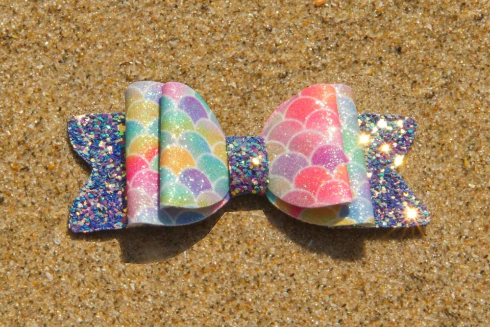 Mermaid Scales Fine Bright Colours Bow 2