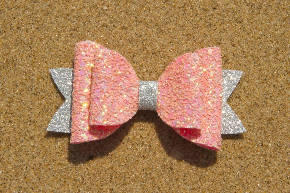 Iridescent Multi Toned Pink & Silver Bow