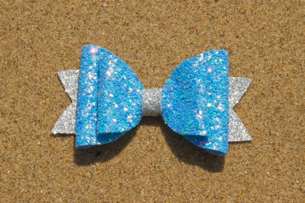 Iridescent Multi Toned Blue & Silver Bow