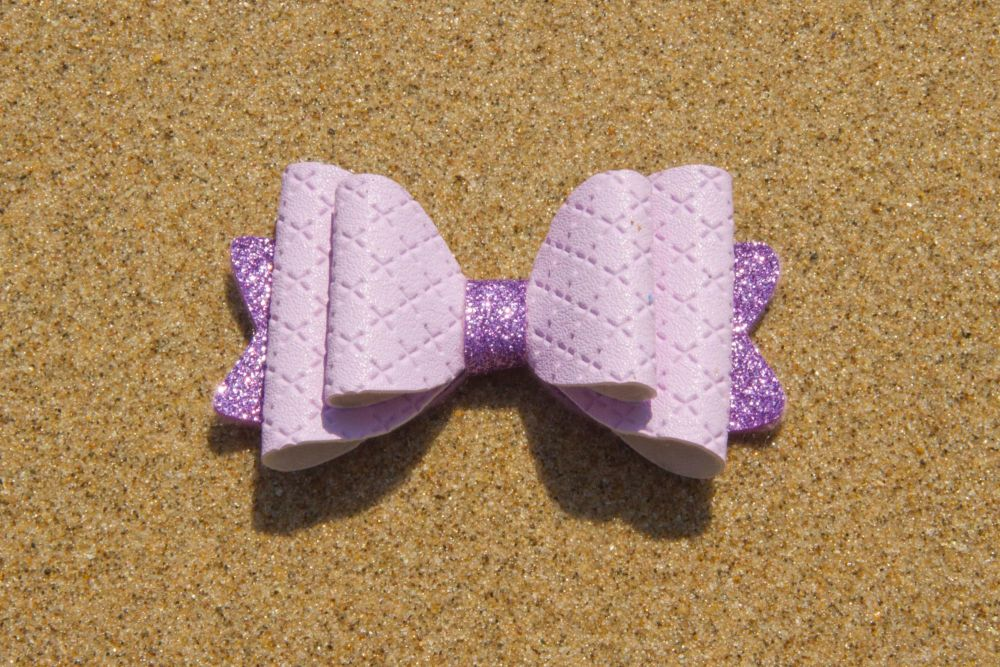 Quilted Leatherette Pastel Purple Bow