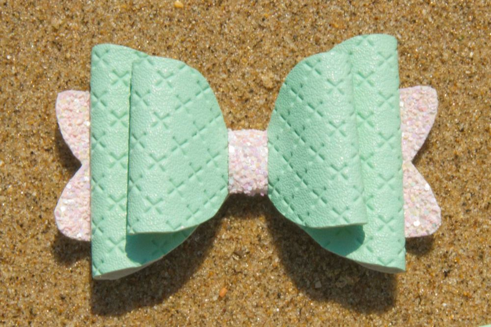Quilted Leatherette Mint Peach Bow 1