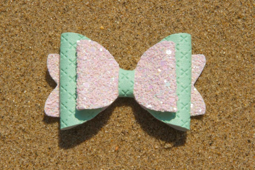 Quilted Leatherette Mint Peach Bow 2