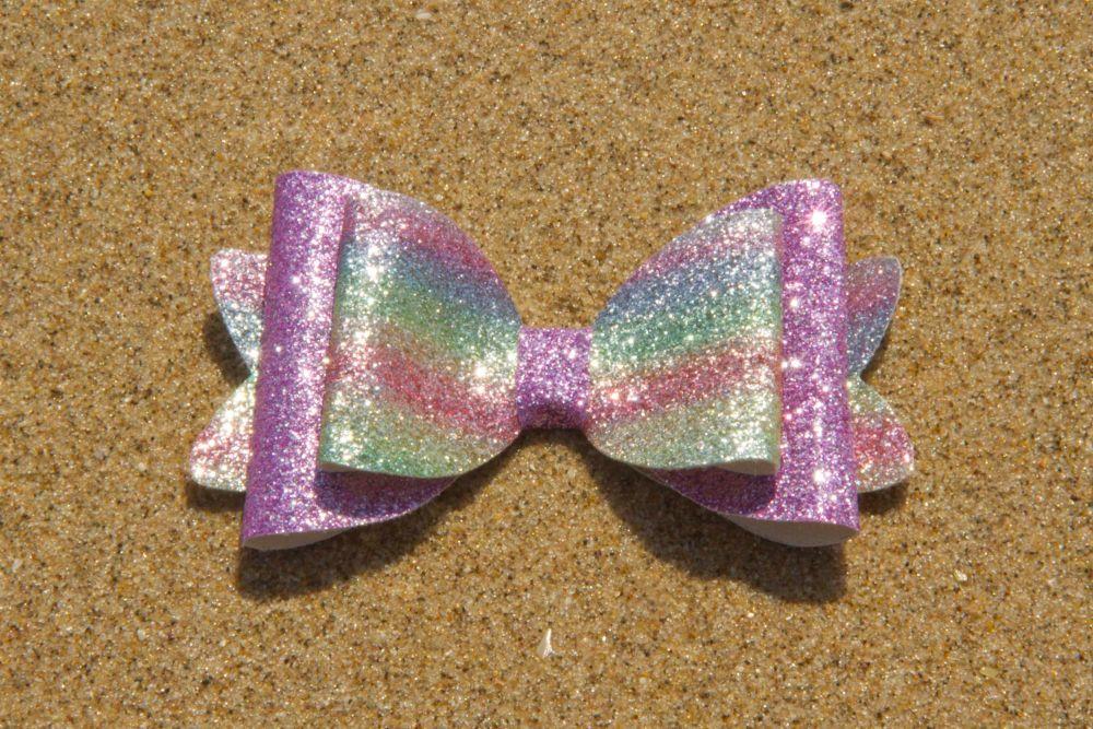 Glitter Rainbow Purple Bow
