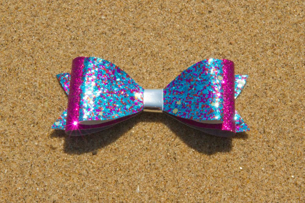 Multi Sparkle Pink & Blue Bow