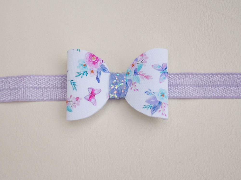 Butterflies & Peonies White Baby Bow