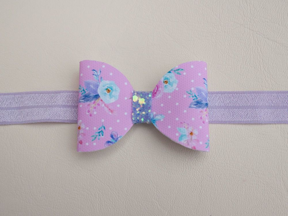 Butterflies & Peonies Pink Baby Bow