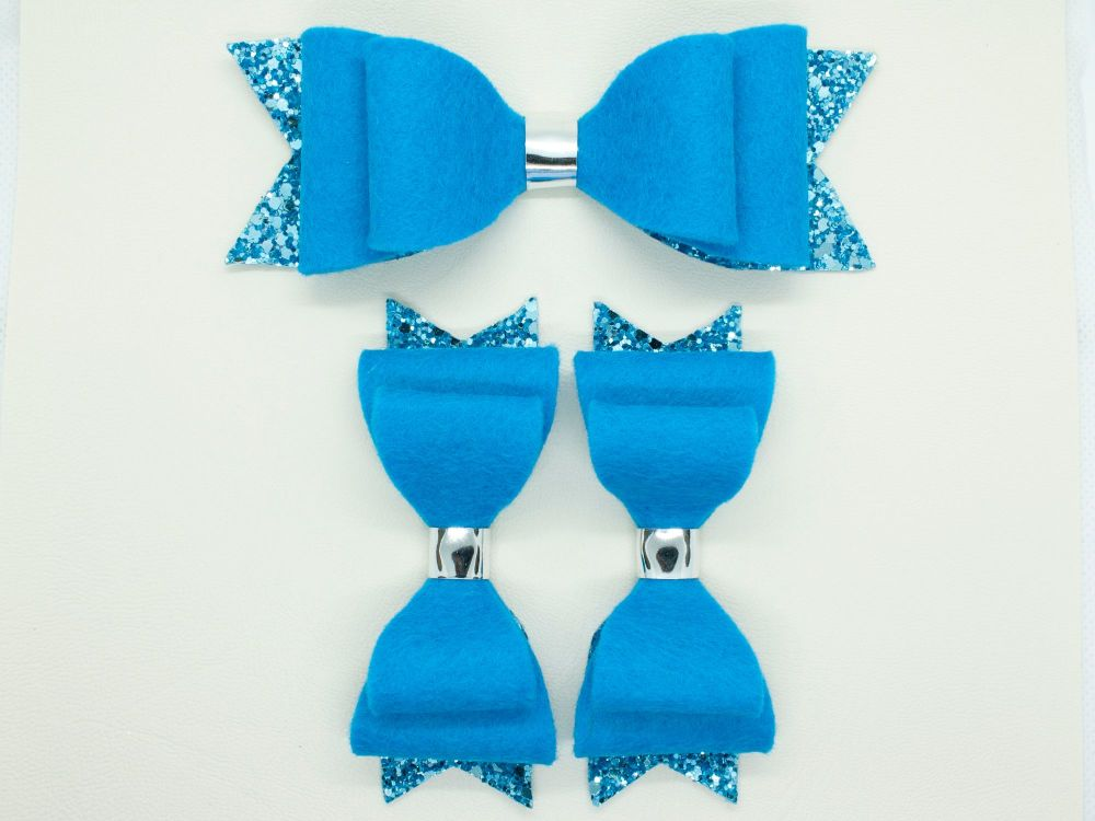 Beautiful Blue Felt & Glitter Bows