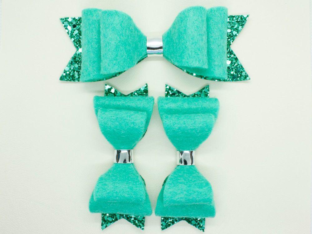 Jade Green Felt & Glitter Bows