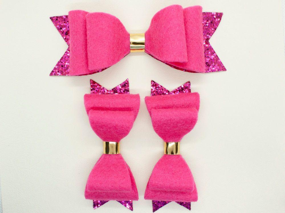 Hot Pink Felt & Glitter Bows - 3 Options