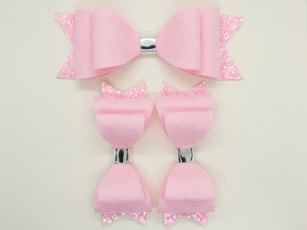 Ballet Pink Felt & Glitter Bows