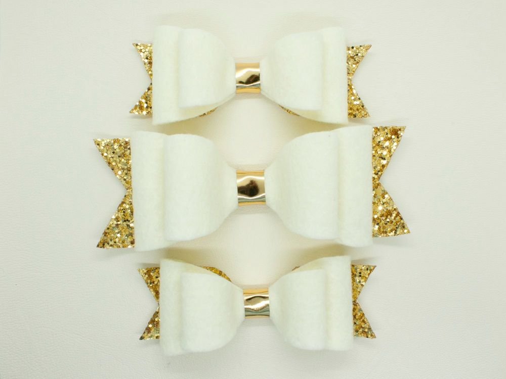 Cream & Gold Felt & Glitter Bows
