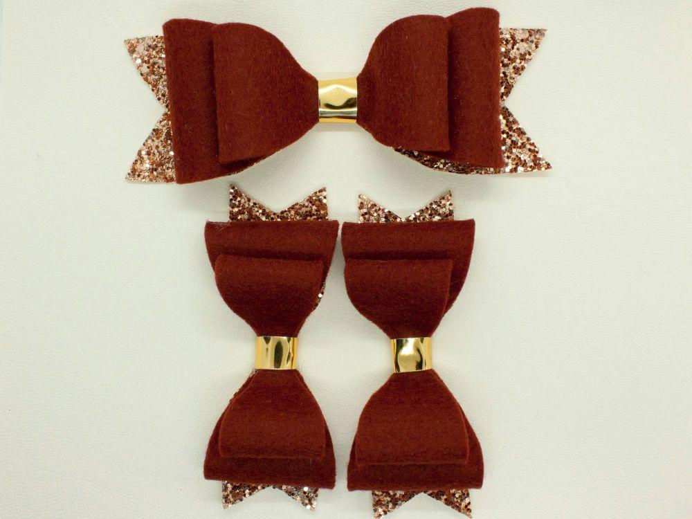 Rustic Red Felt & Glitter Bows