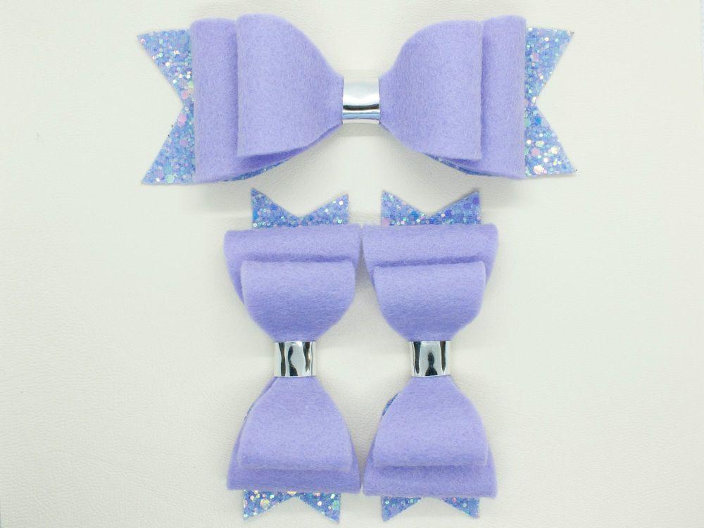 Lilac Felt & Glitter Bows