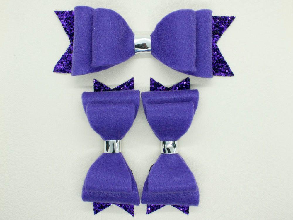Cadbury Purple Felt & Glitter Bows