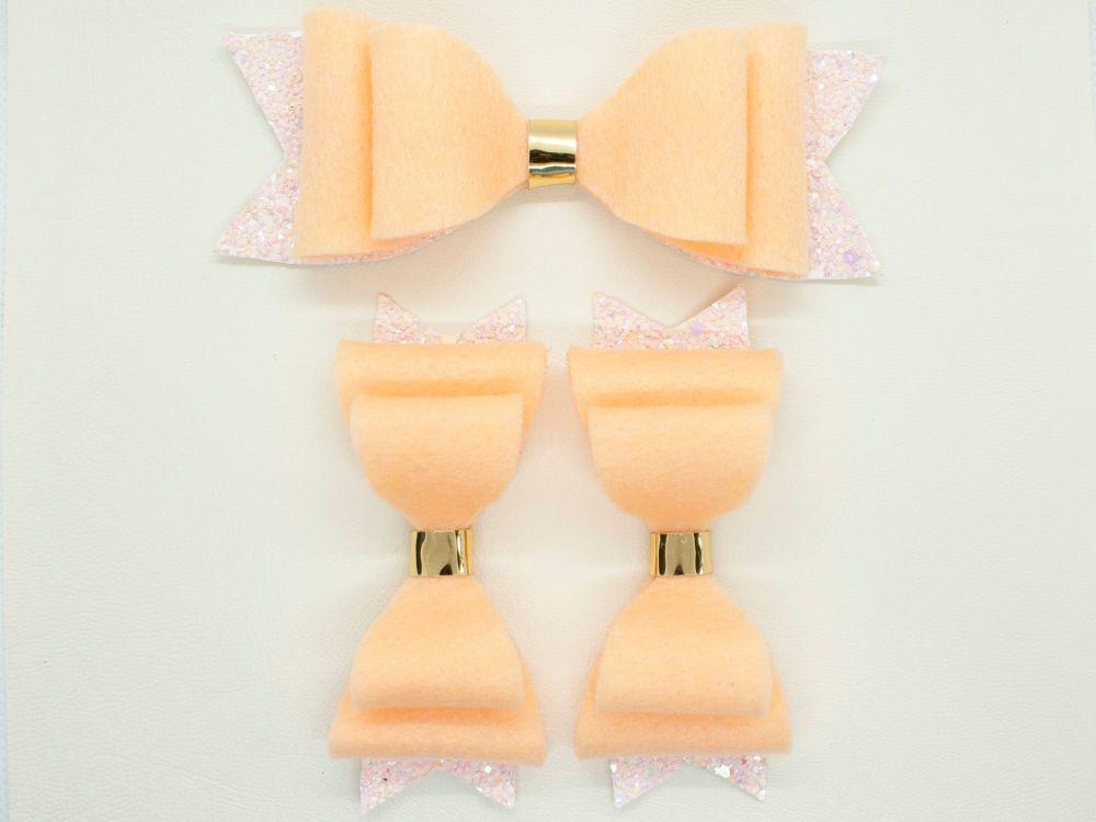 Perfect Peach Felt & Glitter Bows