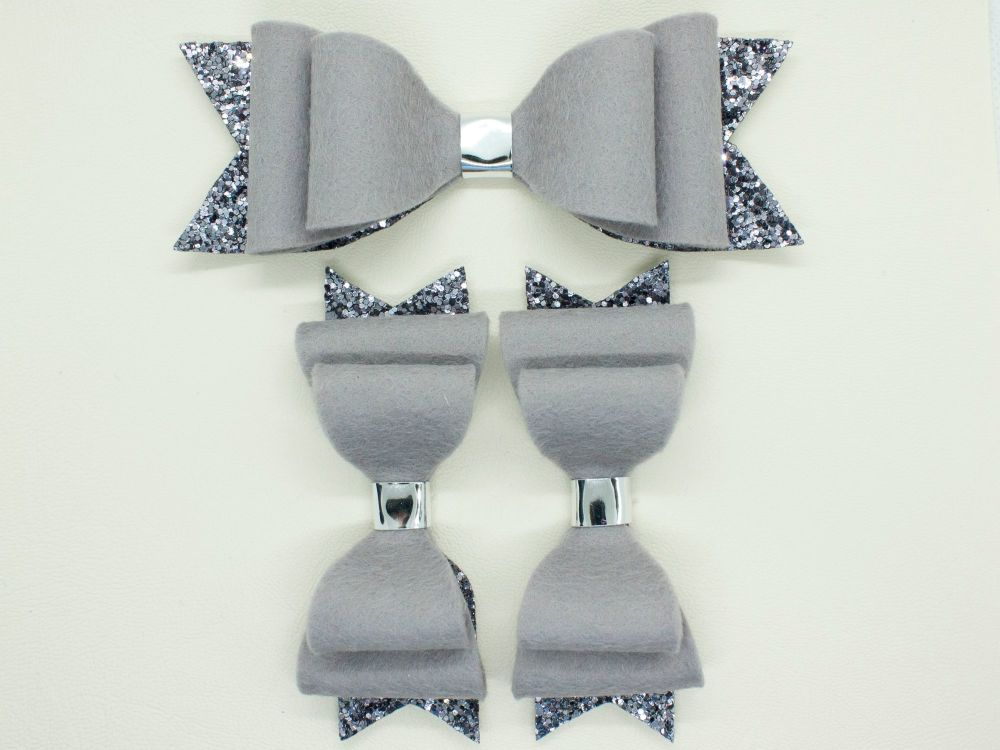 Gorgeous Grey Felt & Glitter Bows
