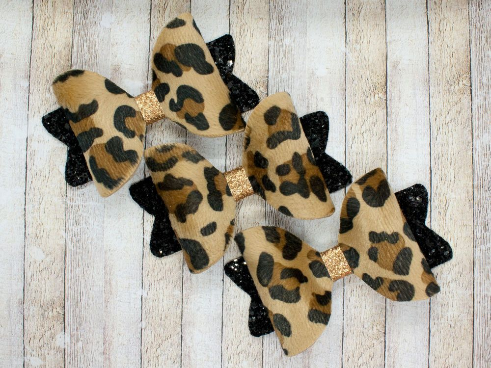 Faux Fur Leopard Print Bows