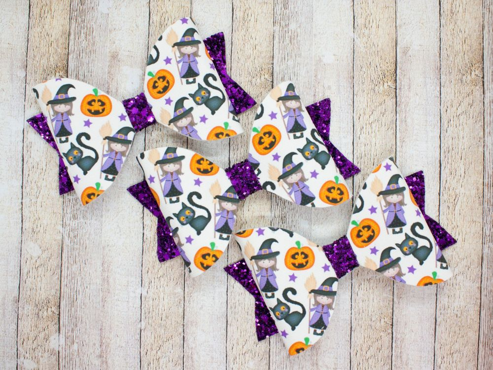 Cute Witch & Cat Halloween Bow