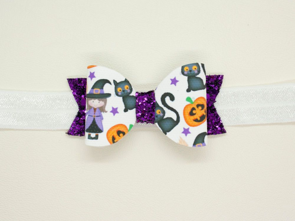Cute Witch & Cat Halloween Baby Bow