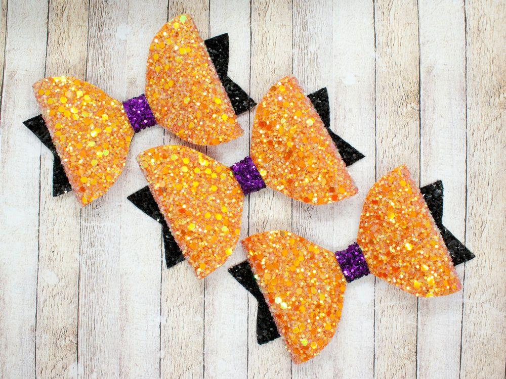 Pumpkin Spice Glitter Halloween Bow
