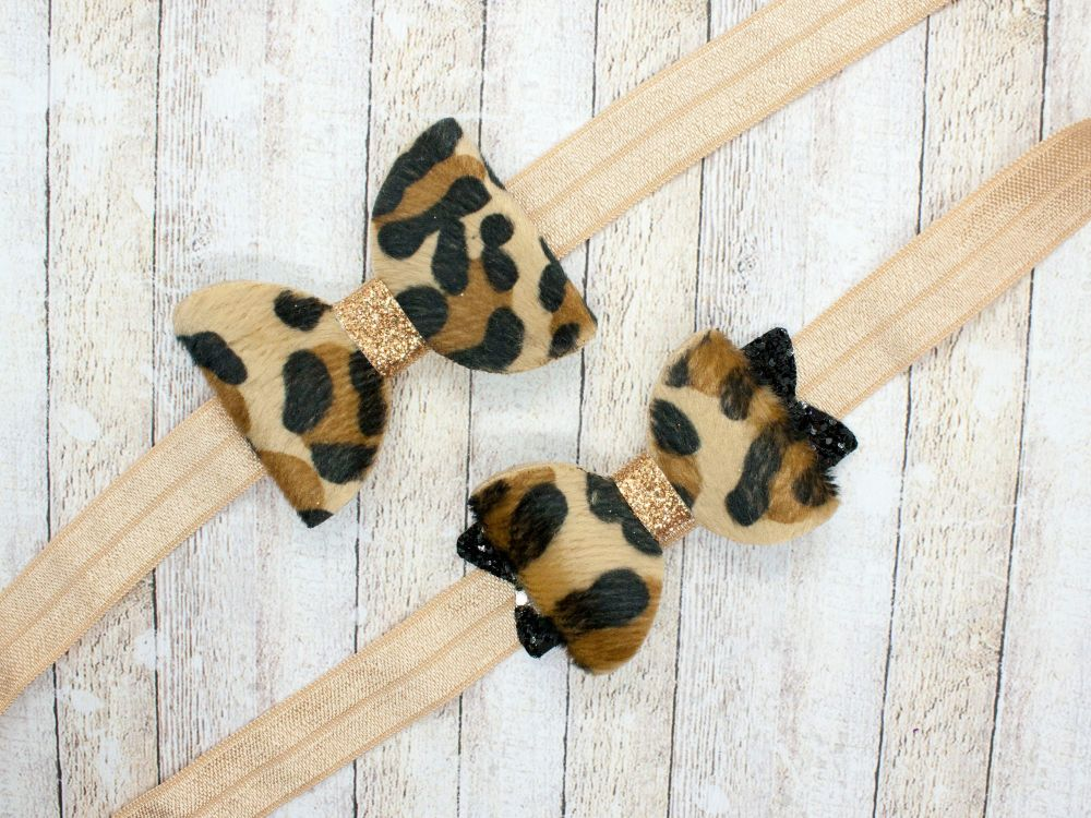 Baby Bow versions - Faux Fur Leopard Print