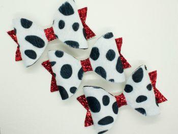 Faux Fur Dalmatian Print Bows