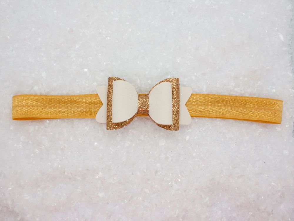 Classic Cream & Antique Gold Bow Baby Bow