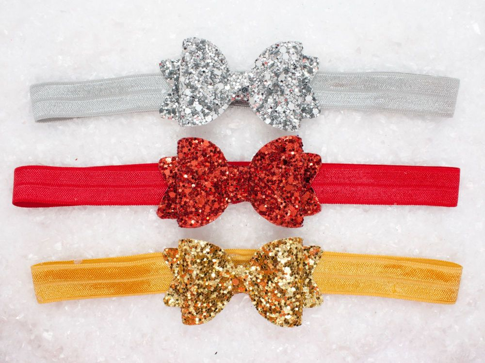 All Glitter Baby Bow – Choose Ruby Slipper, Silver Sparkle or Golden Glitte