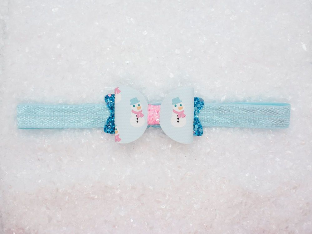 Girly Snowman Bow Baby Bow