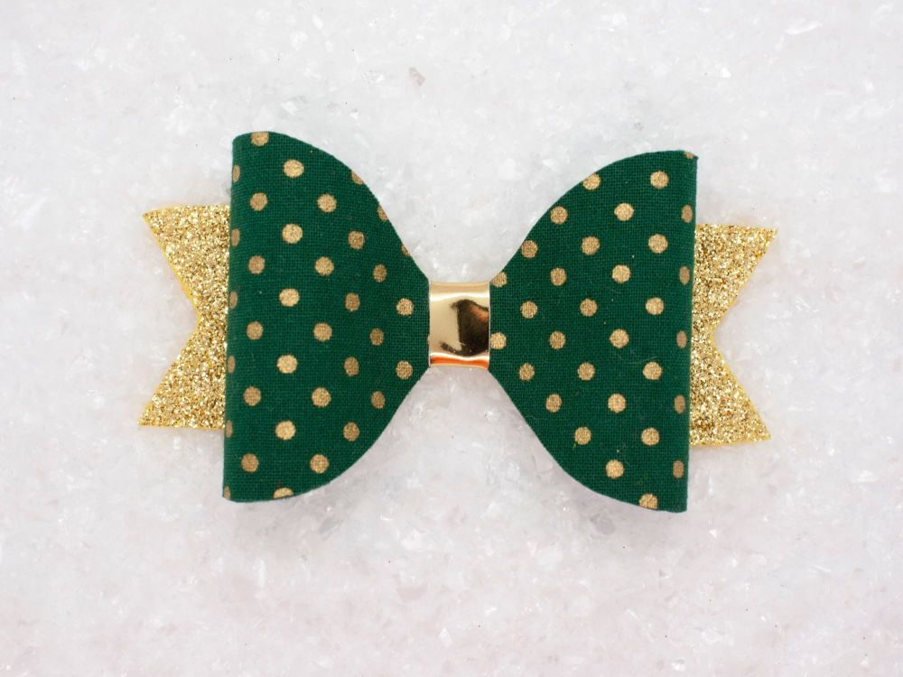 Golden Polka Dots Bow - Green