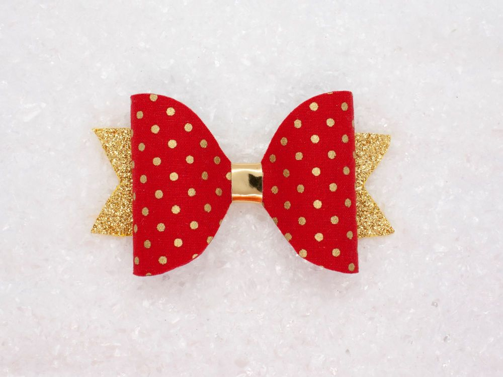 Golden Polka Dots Bow - Red