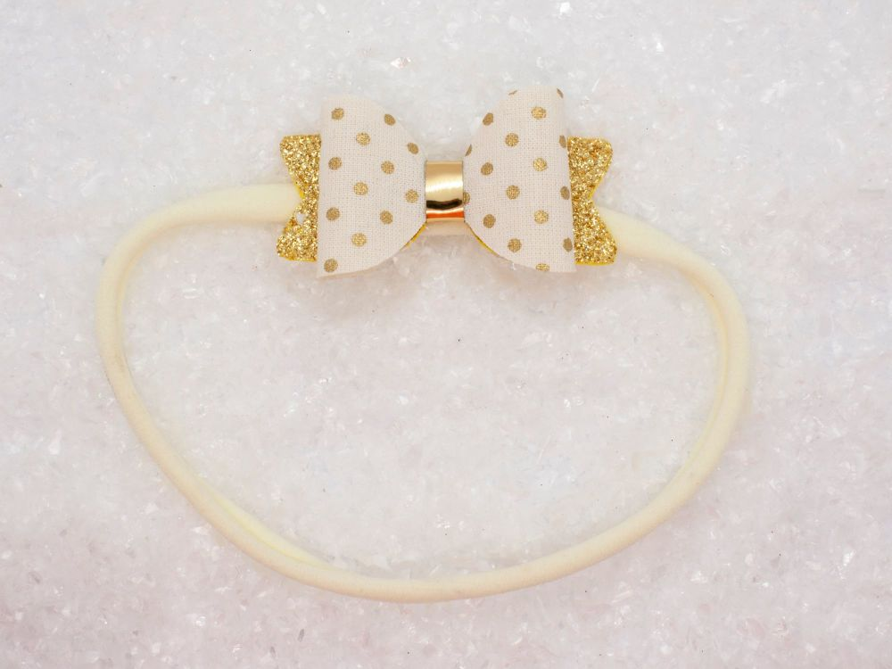 Golden Polka Dots Baby Bow - Ivory