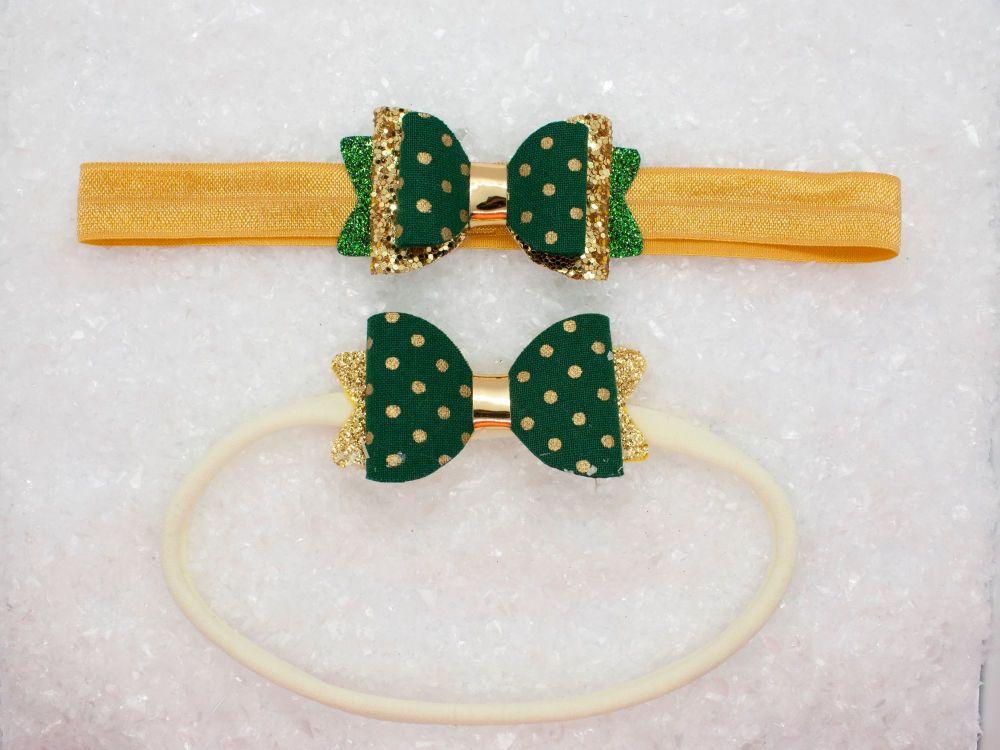 Golden Polka Dots Baby Bow - Green