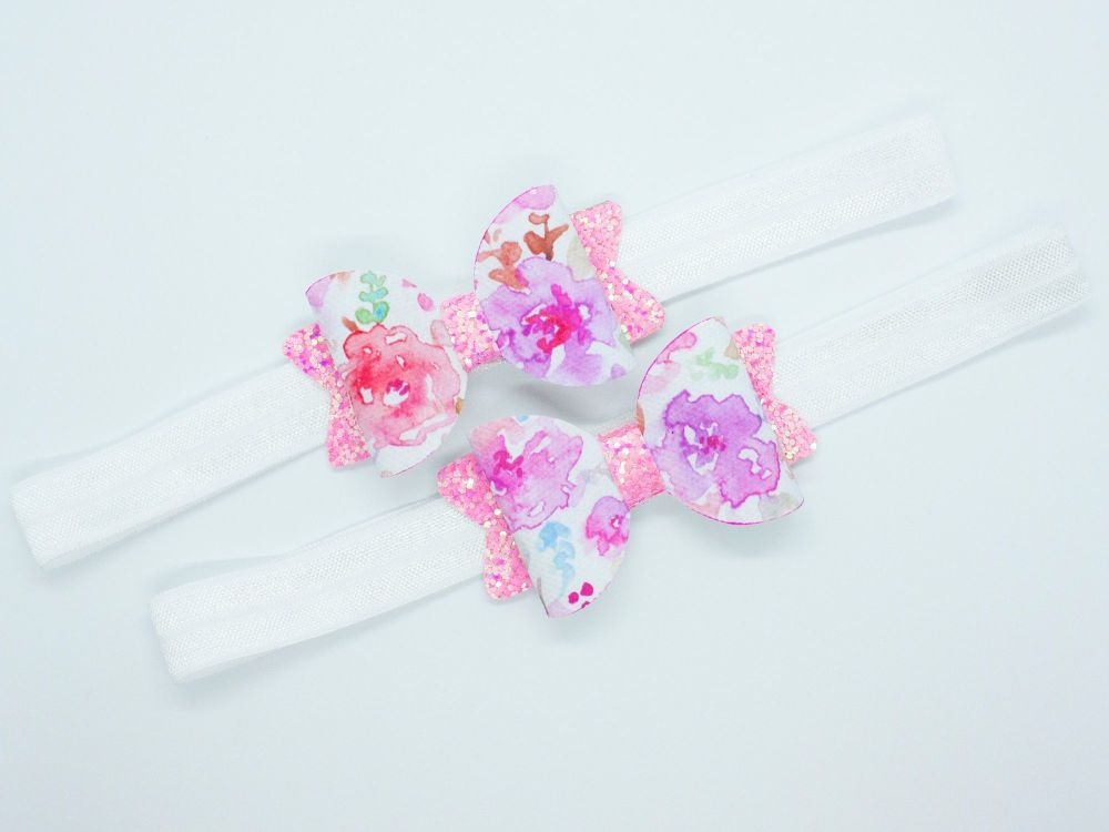 Pretty Watercolour Baby Bow – Pink