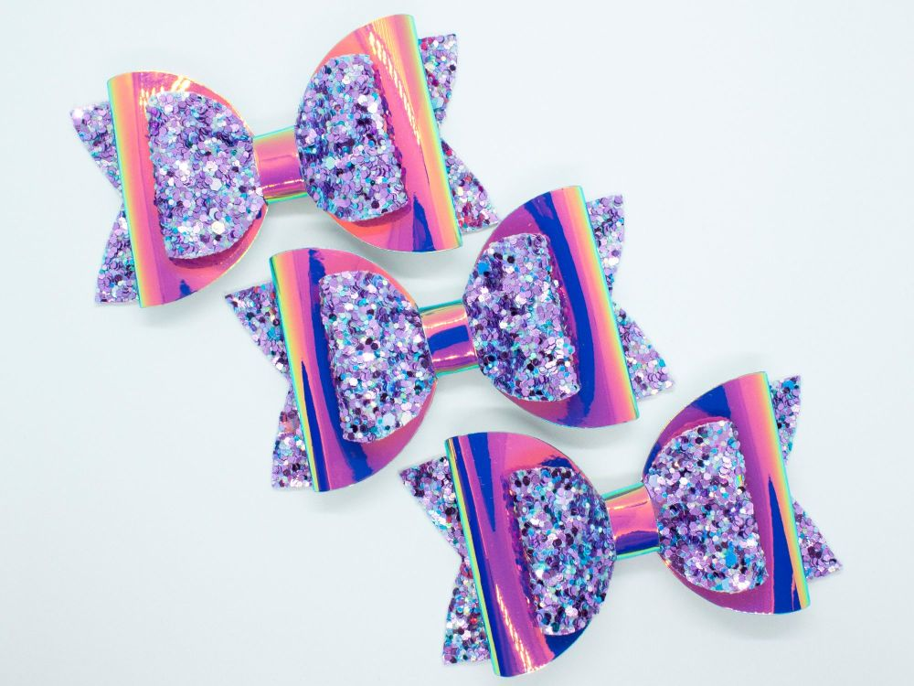 Paradise Purple  Mix Glitter Bow