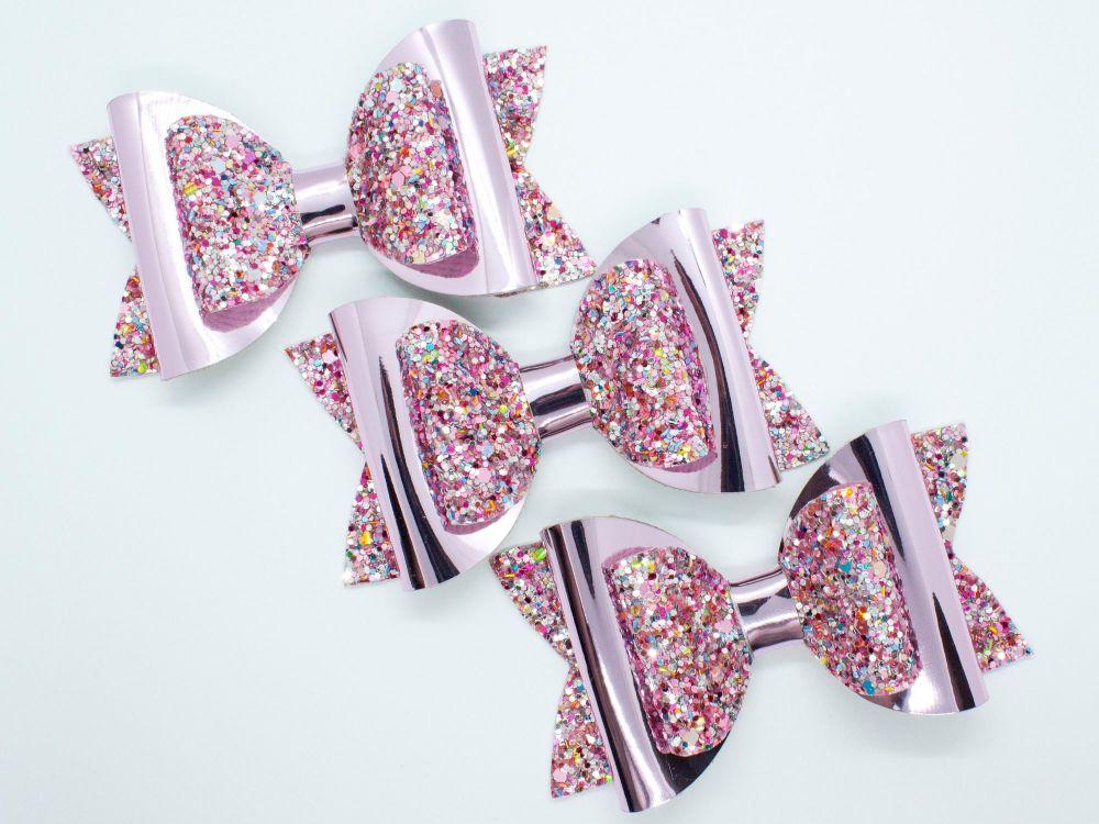 Paradise Pink  Mix Glitter Bow