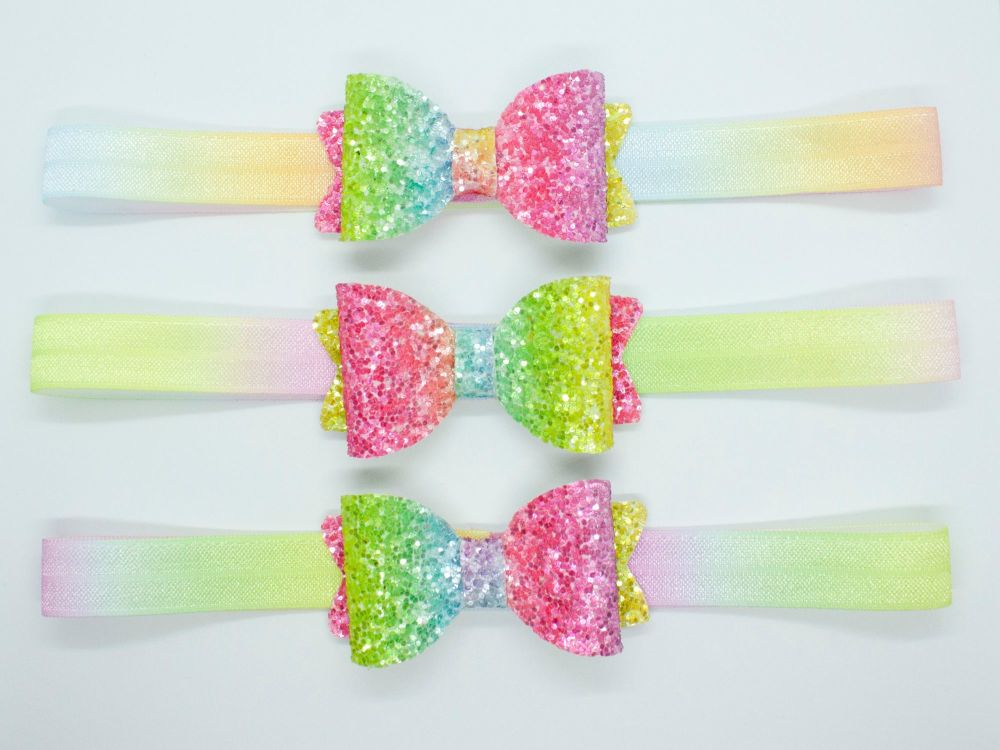 Glitter Rainbow Bright Colours Baby Bow