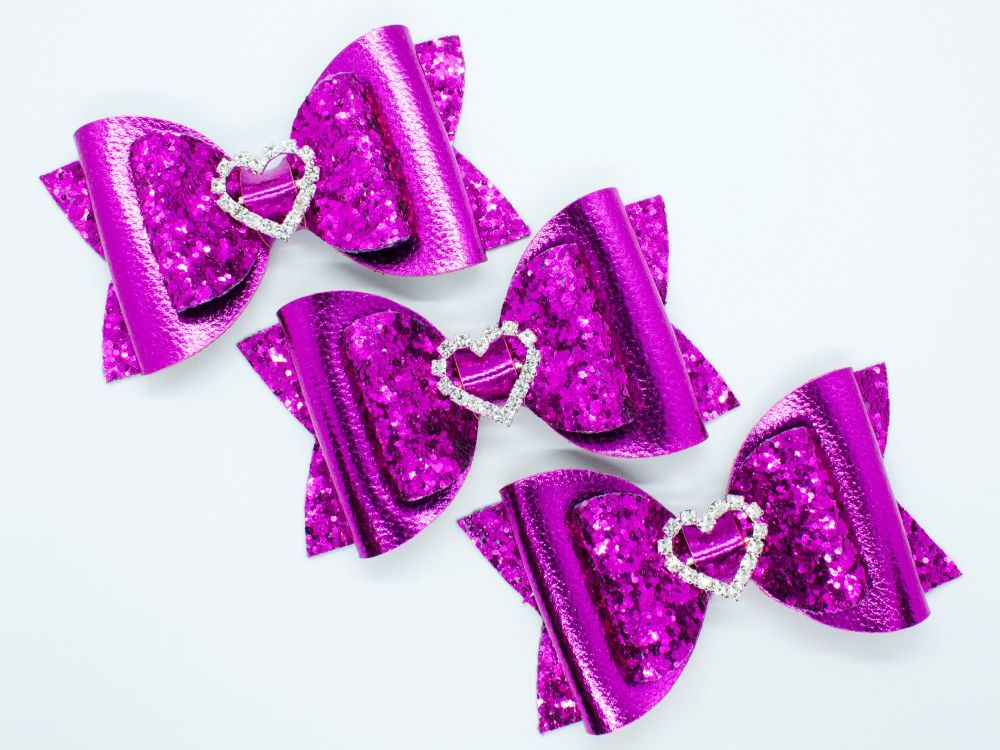 Electric Pink Diamante Heart Centre Bow