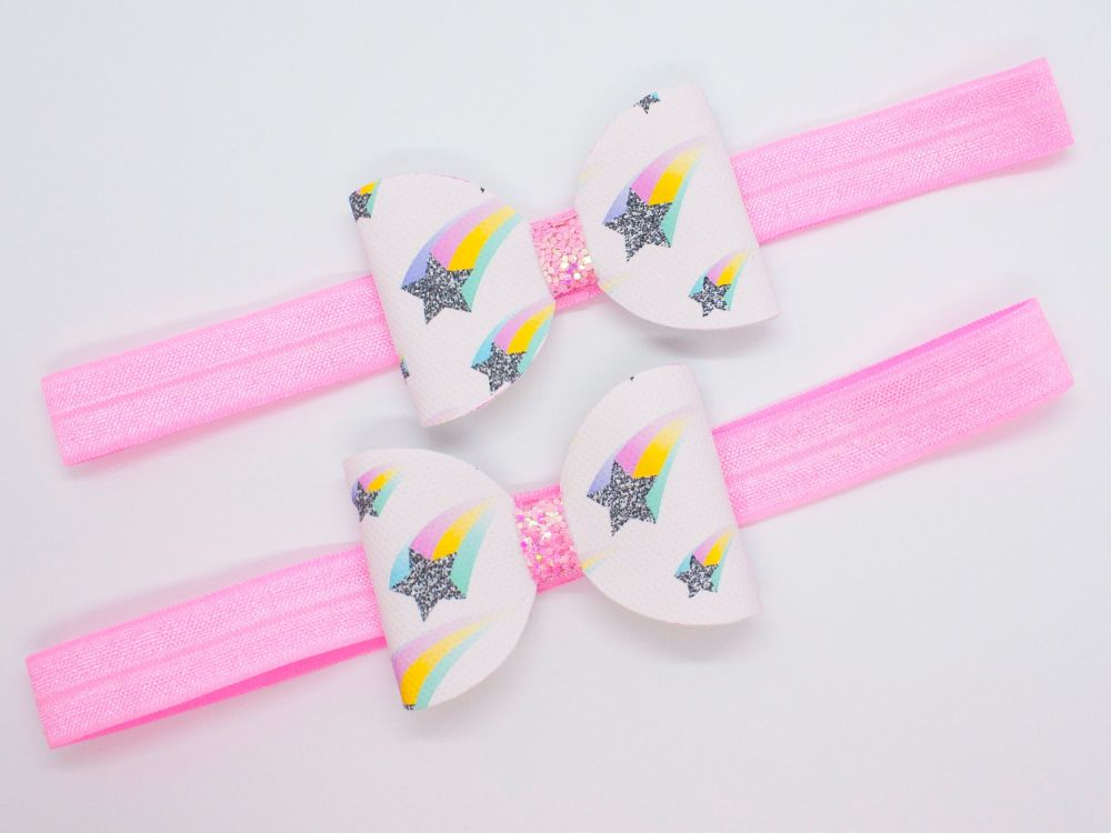 Shooting Stars Rainbow Trails Baby Bow