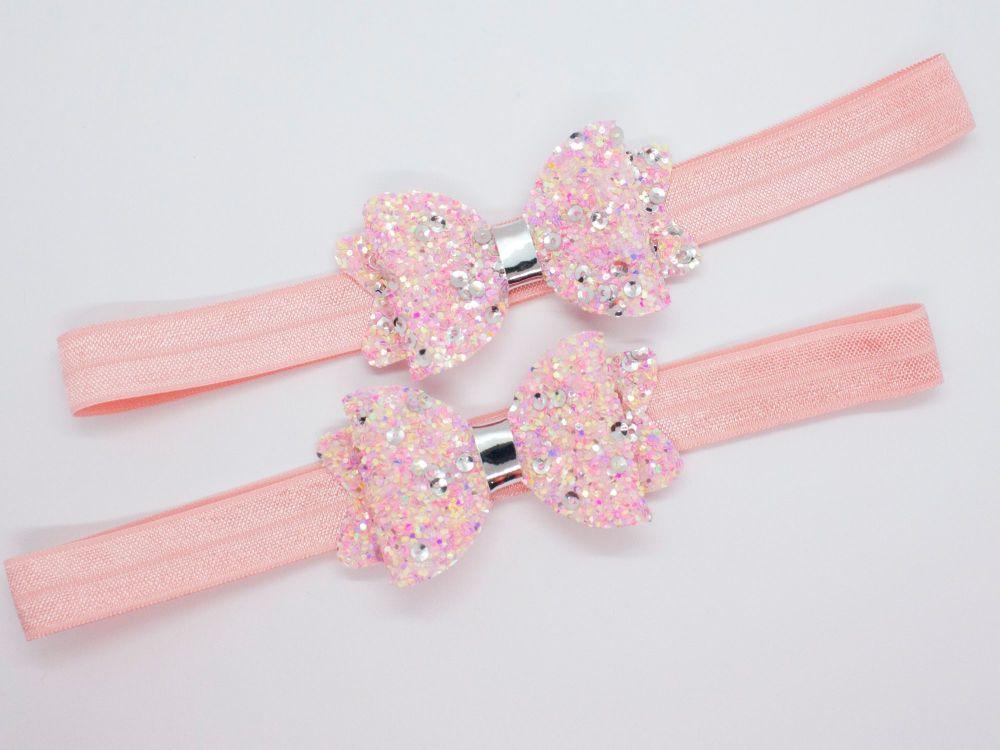Pink Tutti Frutti Glitter Baby Bow