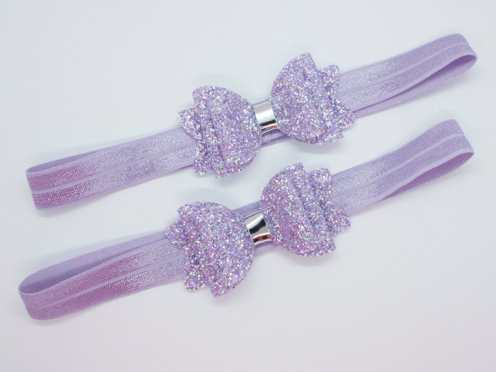 Fine Glitter Sparkle Baby Bow - Lilac