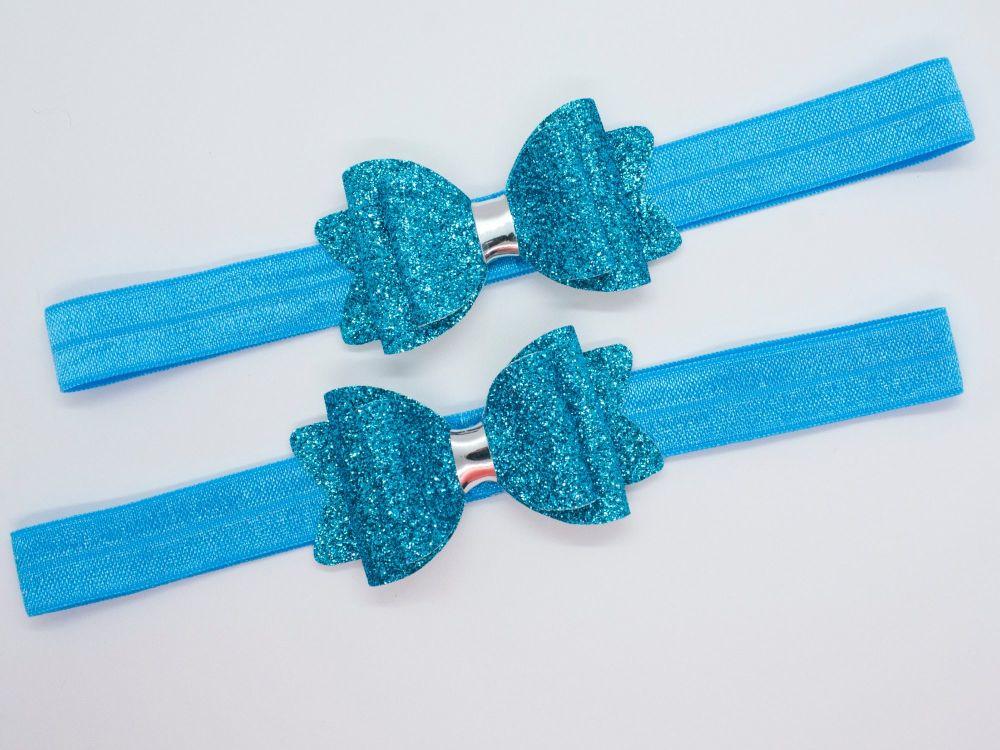Fine Glitter Sparkle Baby Bow – Paradise Blue
