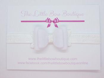 White Velvet Baby Bow