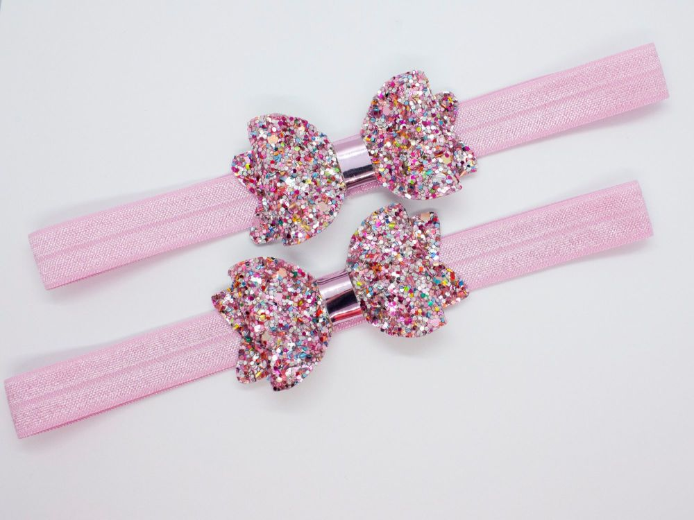 Paradise Pink Glitter Baby Bow