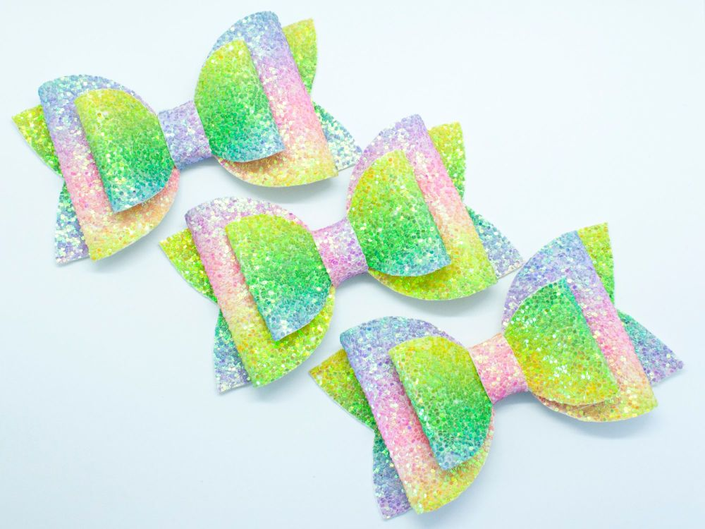 Glitter Rainbow Bright Colours Bow