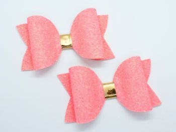 Neon Glitter Bow Collection – Coral